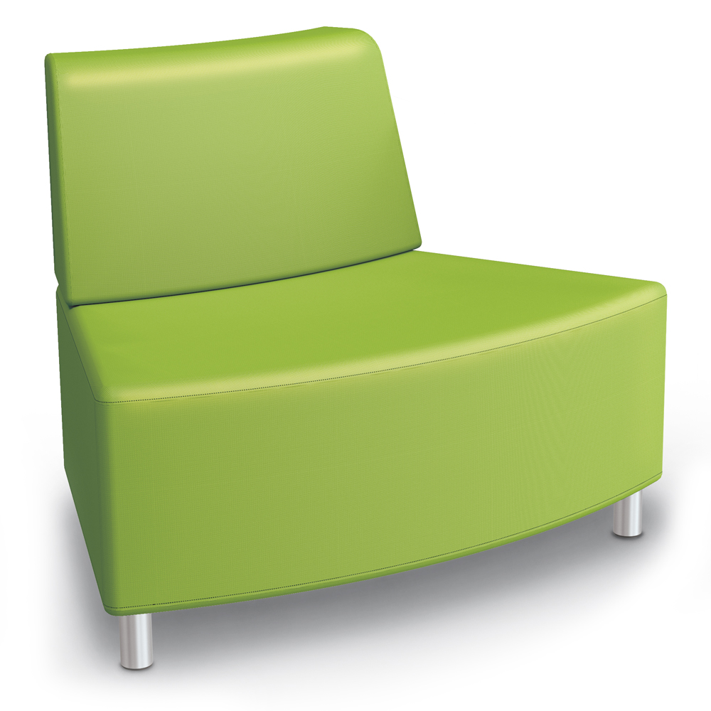 MooreCo® Modular Soft Seating Collection - 45° Wedge Outside Armless Chair, Fabric