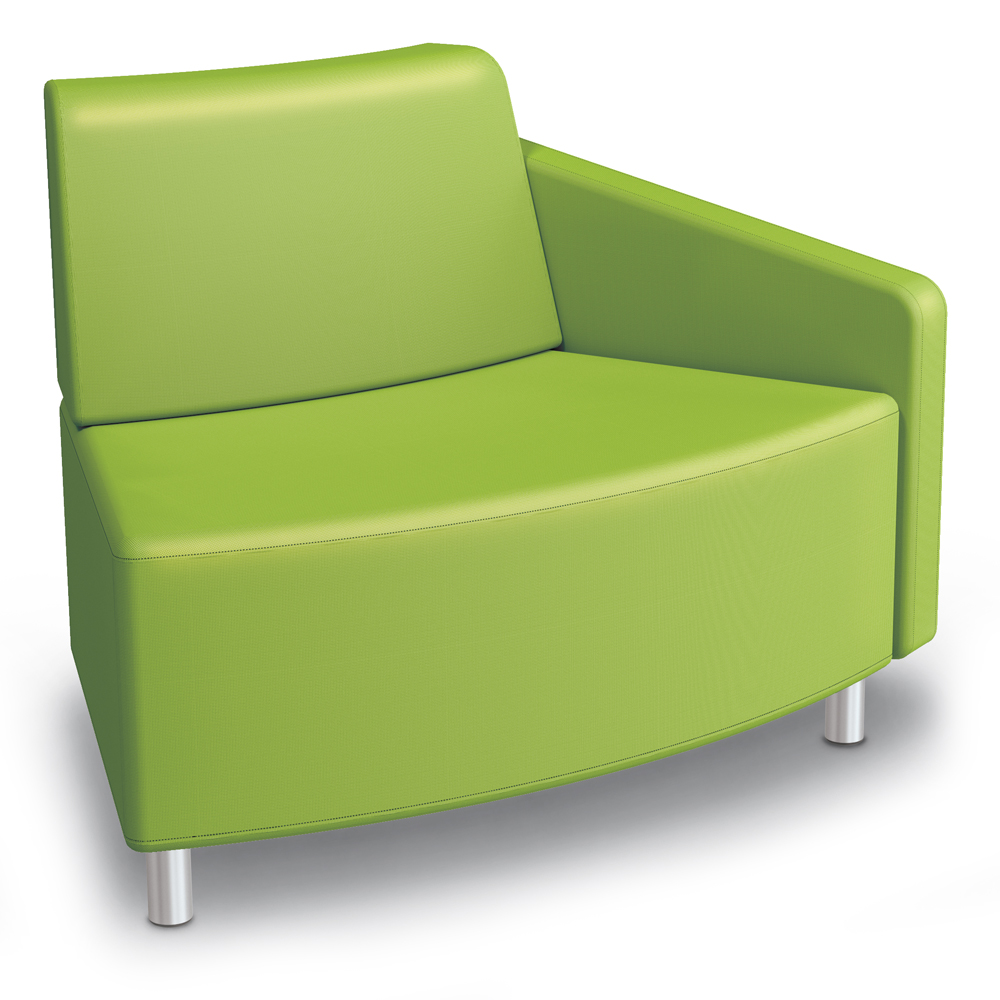 MooreCo® Modular Soft Seating Collection - 45° Wedge Outside Left Arm Chair, Fabric