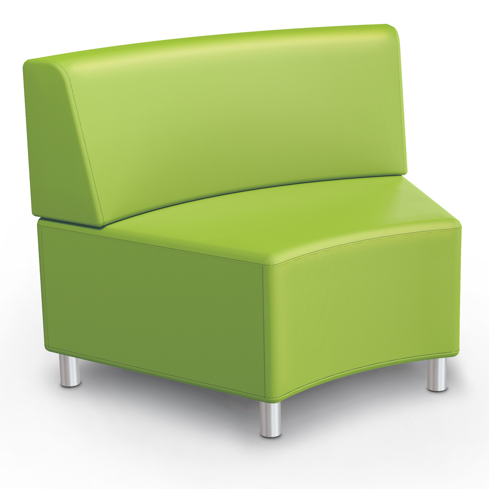 MooreCo® Modular Soft Seating Collection - 45° Wedge Inside Armless Chair, Fabric