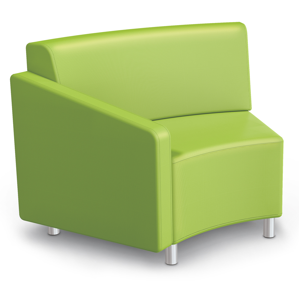 MooreCo® Modular Soft Seating Collection - 45° Wedge Inside Right Arm Chair, Fabric