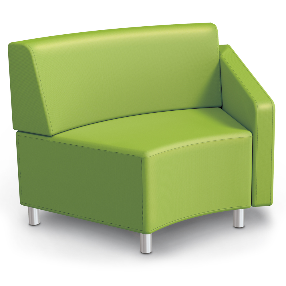 MooreCo® Modular Soft Seating Collection - 45° Wedge Inside Left Arm Chair, Fabric