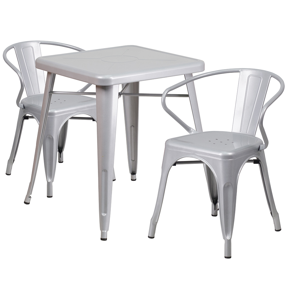 Metal Indoor/Outdoor Standard Height Bistro Table & 2 Chair with arms Set
