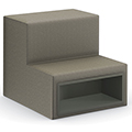 HPFI® Flex Tiered Seating - 2-Tier Linear Seat with Cubby, Leather