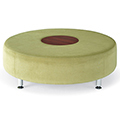 HPFI® Accompany Curved Lounge Seating - Round Table/Ottoman, Leather