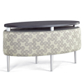 HPFI® Eve Lounge Seating - Oval Table with Floating Top, Fabric