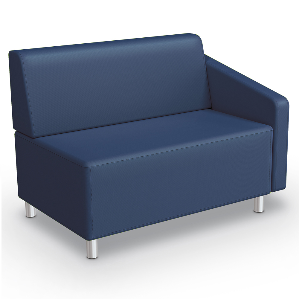 MooreCo® Modular Soft Seating Collection - Left Arm Loveseat, Faux Leather