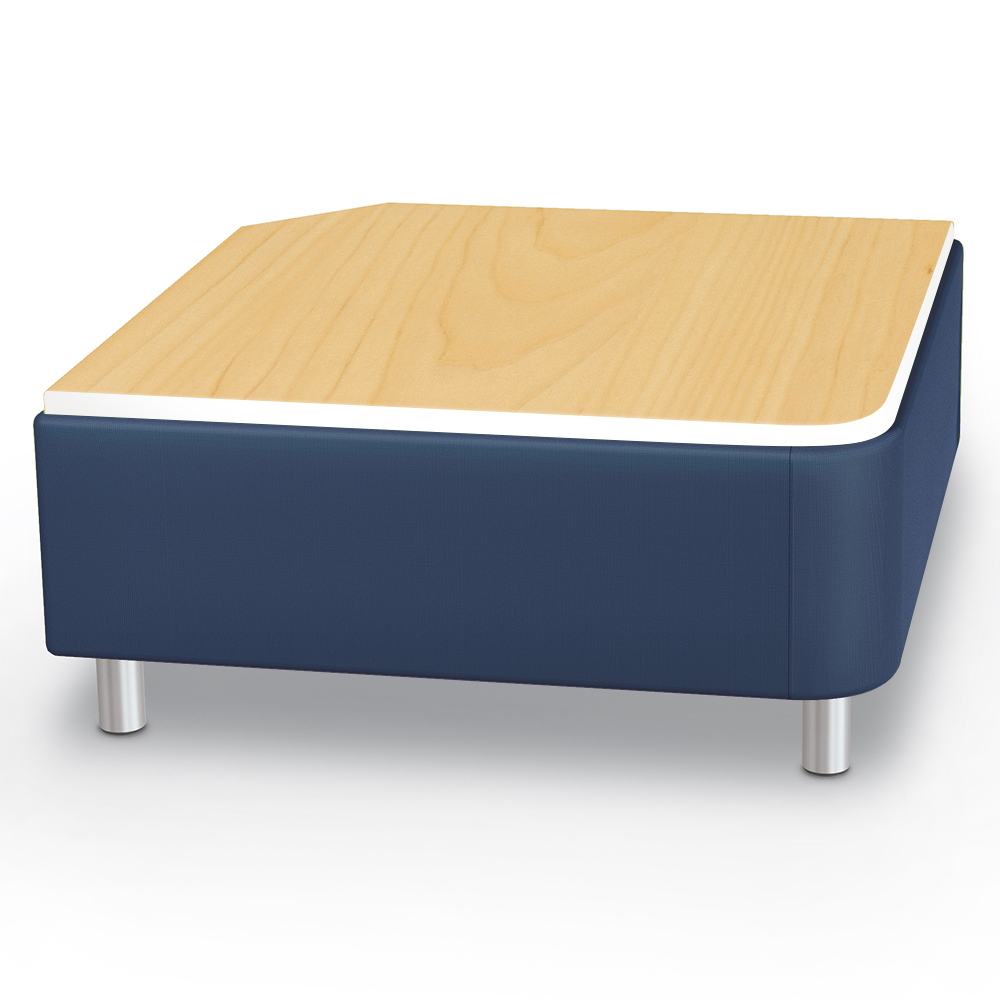 MooreCo® Modular Soft Seating Collection - Square Corner Bench with Laminate Top, Faux Leather