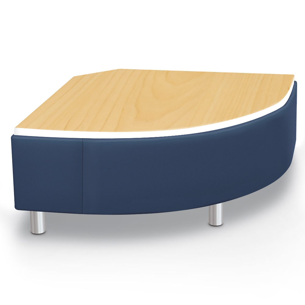 MooreCo® Modular Soft Seating Collection - Round Corner Bench with Laminate Top, Faux Leather