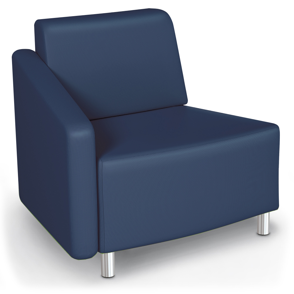 MooreCo® Modular Soft Seating Collection - 22.5° Wedge Outside Right Arm Chair, Faux Leather
