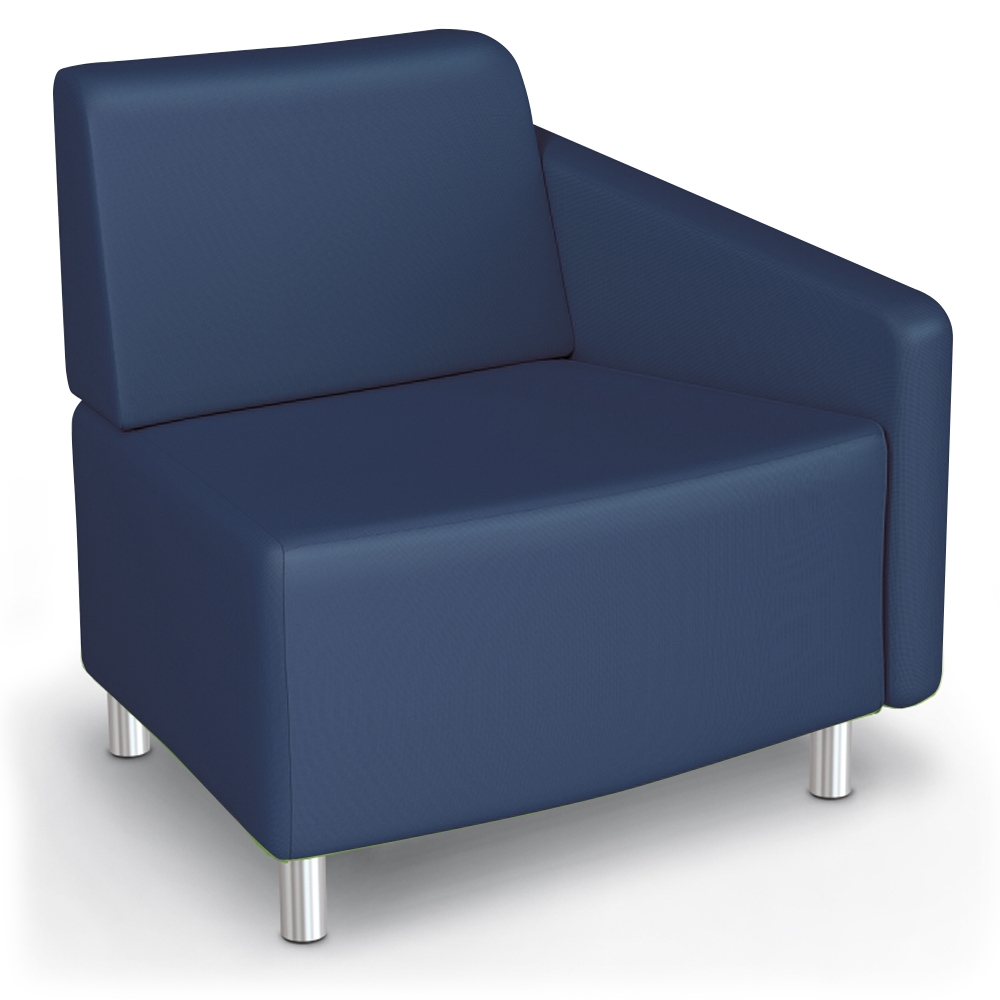 MooreCo® Modular Soft Seating Collection - 22.5° Wedge Outside Left Arm Chair, Faux Leather