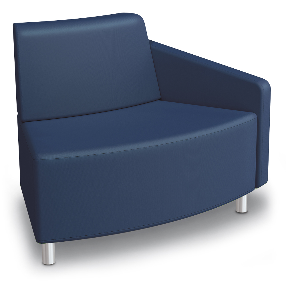 MooreCo® Modular Soft Seating Collection - 45° Wedge Outside Left Arm Chair, Faux Leather