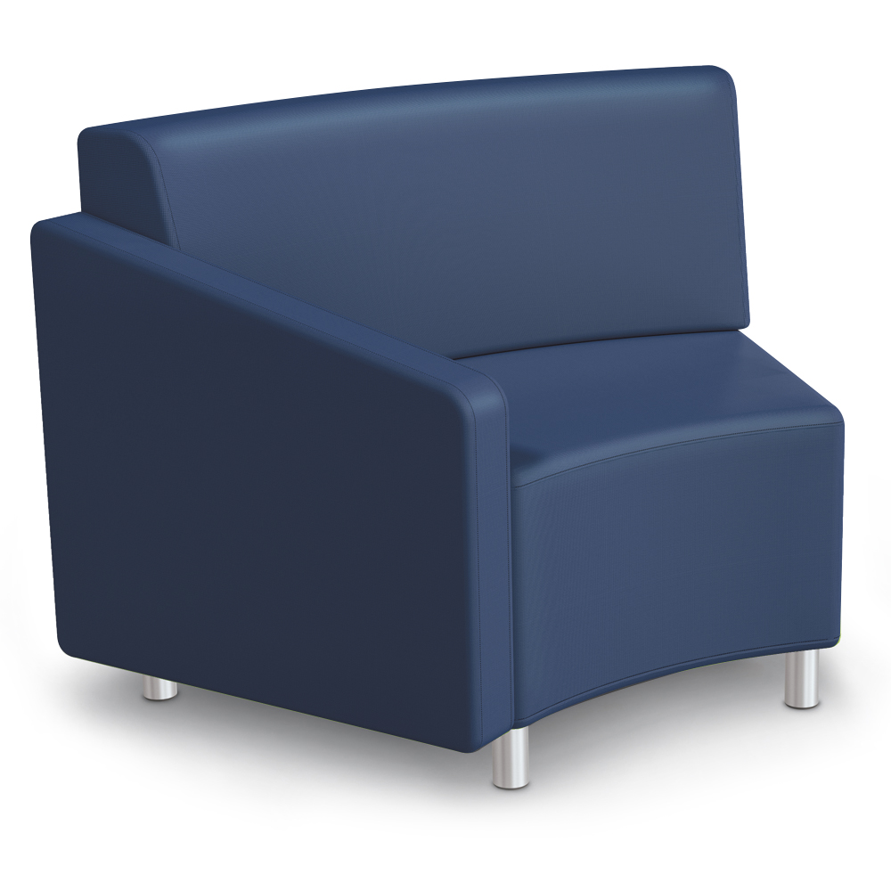 MooreCo®Modular Soft Seating Collection - 45° Wedge Inside Right Arm Chair, Faux Leather
