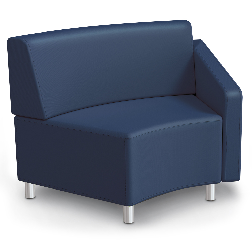 MooreCo® Modular Soft Seating Collection - 45° Wedge Inside Left Arm Chair, Faux Leather