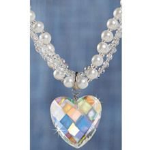 Aurora Borealis Crystal Heart Necklace