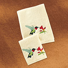 Hummingbird Embroidered Wash Cloth