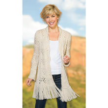 Crocheted Fringe Shawl Sweater