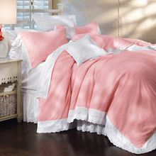 Pink Blush Royal Lace Duvet Cover & Accessory
