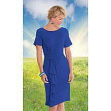 Stylish Cascading Dress - Royal Blue