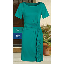 Stylish Cascading Dress - Teal
