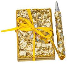 Gold Bejeweled Notebook & Pen Set