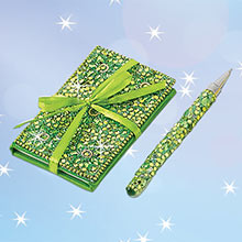 Green Bejeweled Notebook & Pen Set