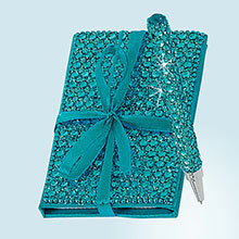 Aqua Bejeweled Notebook & Pen Set