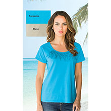 Short Sleeve Fringe Top - Turquoise