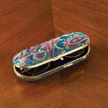Fuchsia & Teal Paisley Eyeglass Case
