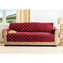 Red Plaid Pet Sofa Cover