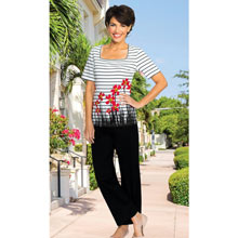 Floral Border Stripe Pant Set