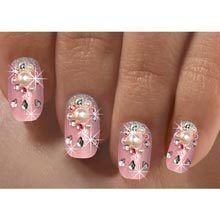 Pink Bling Acrylic Nails - Set of 24