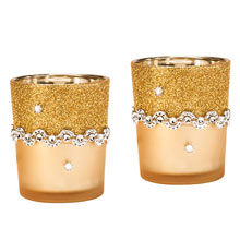 Gold Festive Glitter Votive-S/2