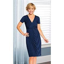 Delightful Faux Wrap Dress - Navy