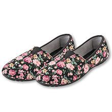 Pink Roses on Black Loafers