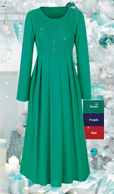 The Paragon Women/'s Green Smocked and Beaded Cotton Dress
