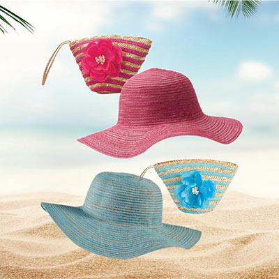 Pink Sun Lily Hat & Wristlet Set