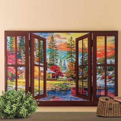 Autumn Window Canvas Print