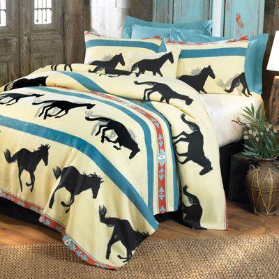 Running Horses Fleece Blankets & Accessories
