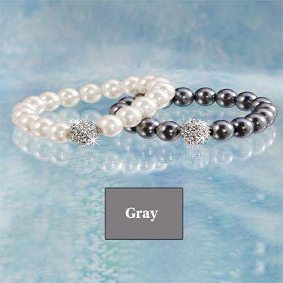 Faux Pearl & Crystal Bracelet