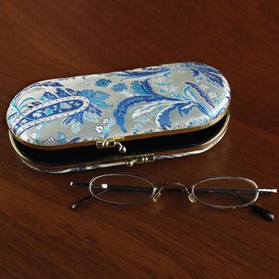 Blue & Platinum Paisley Eyeglass Case