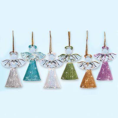 Handblown Glass Angel Ornaments - Set of 6
