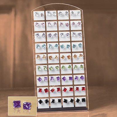 Set of 36 Brilliant Crystal Earrings