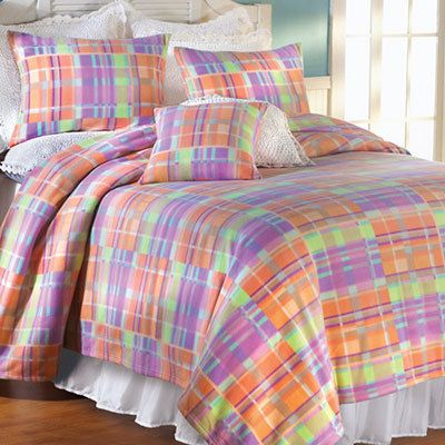 Madras Plaid Fleece Blankets & Accessories