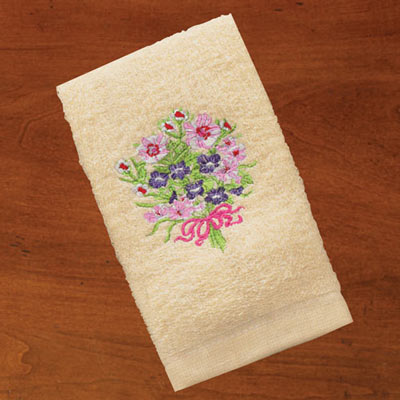 Embroidered Flower Bouquet Towels