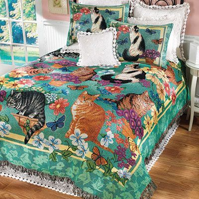 Garden Cats Tapestry Coverlet & Accessory