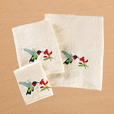 Hummingbird Embroidered Bath Towel