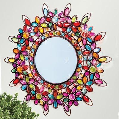 Round Colorful Floral Mirror