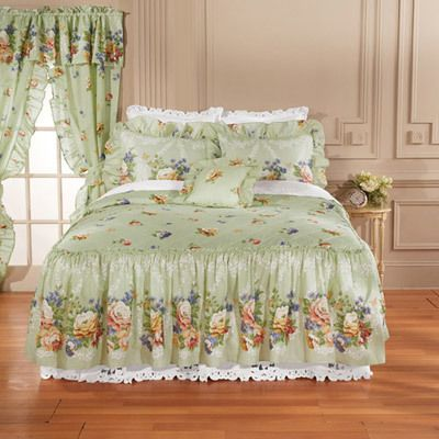 Sage Floral Quilted Bedspread & Accessories