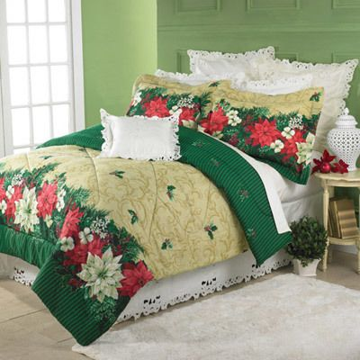 Poinsettia Border Comforter Set