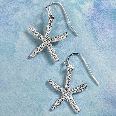 Silvery Starfish Necklace & Earrings